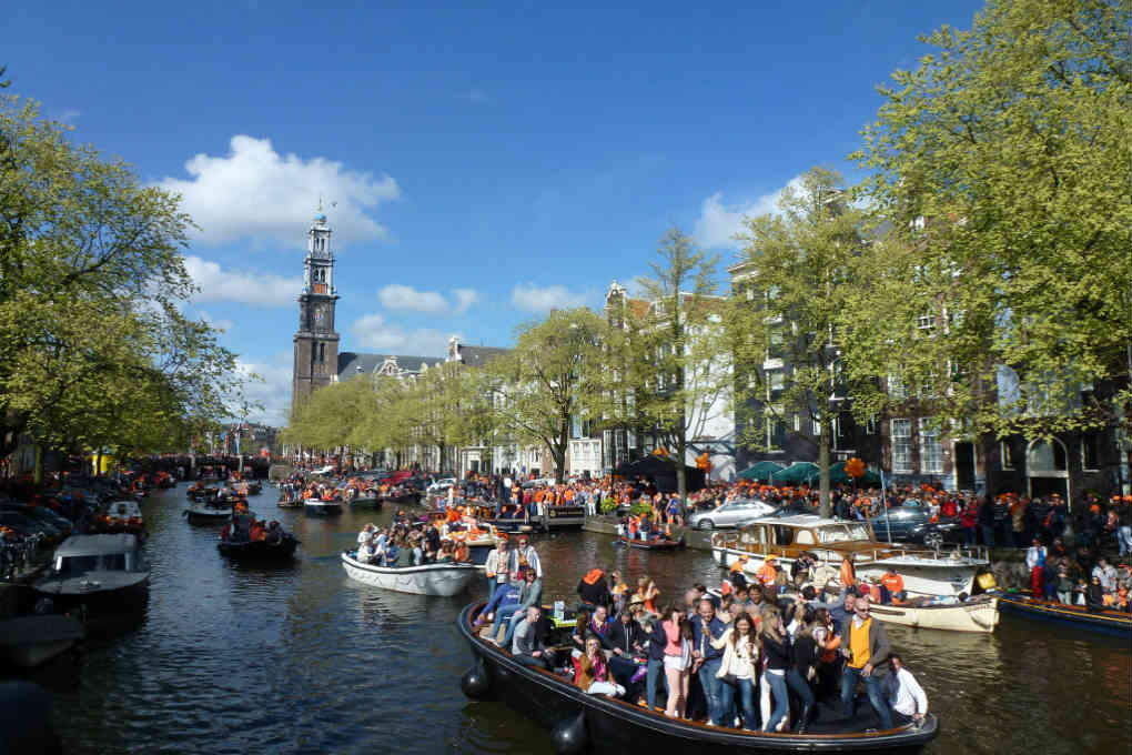 Boats on canal for King's day