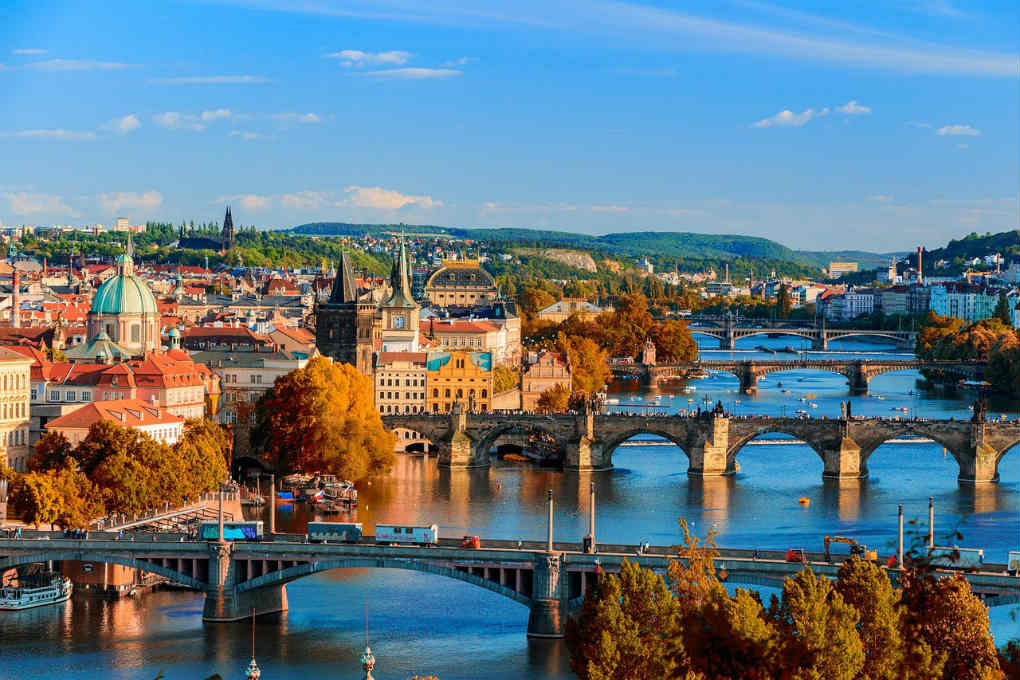 Bridges over Vltava River in Prague