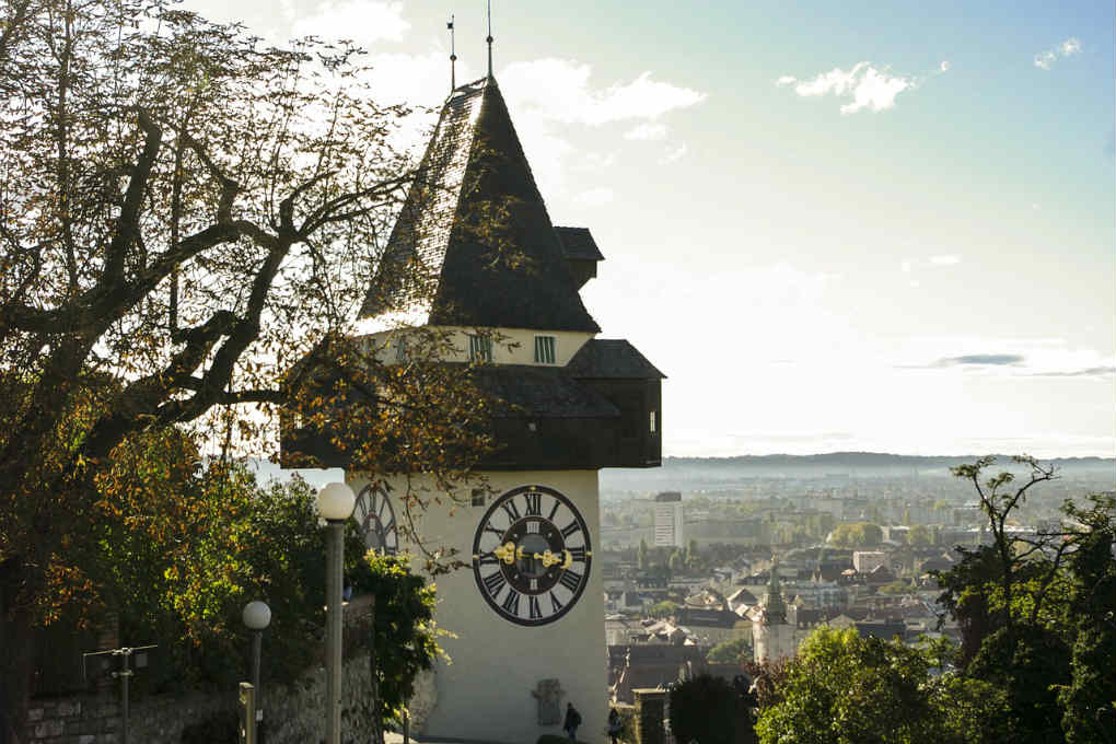 The Schlossberg Clock Tower in Graz