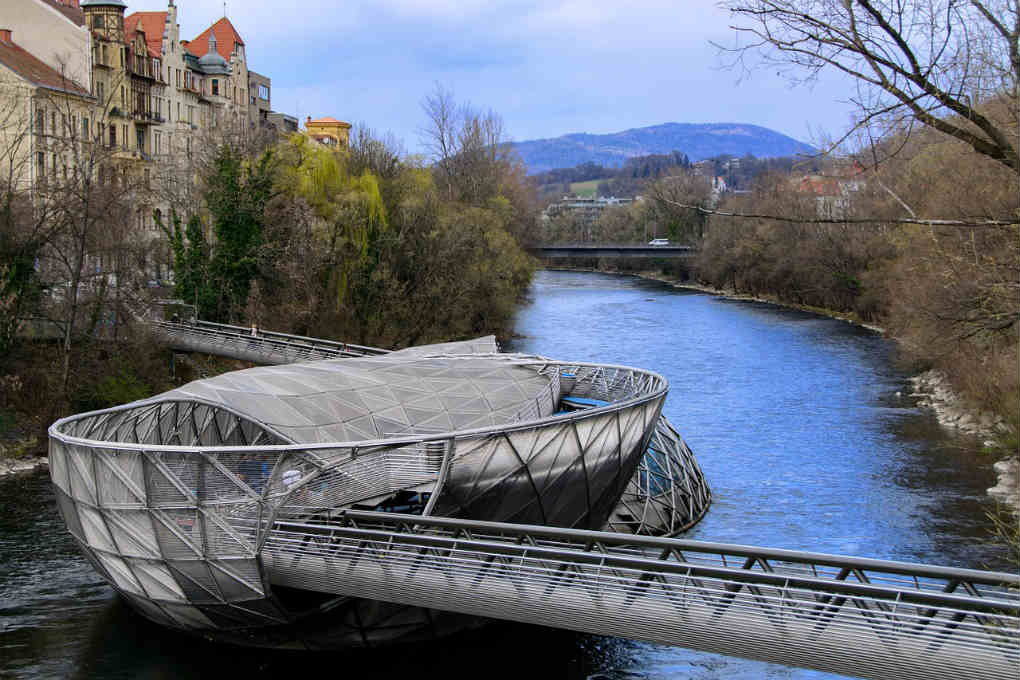 The Murinsel on river in Graz