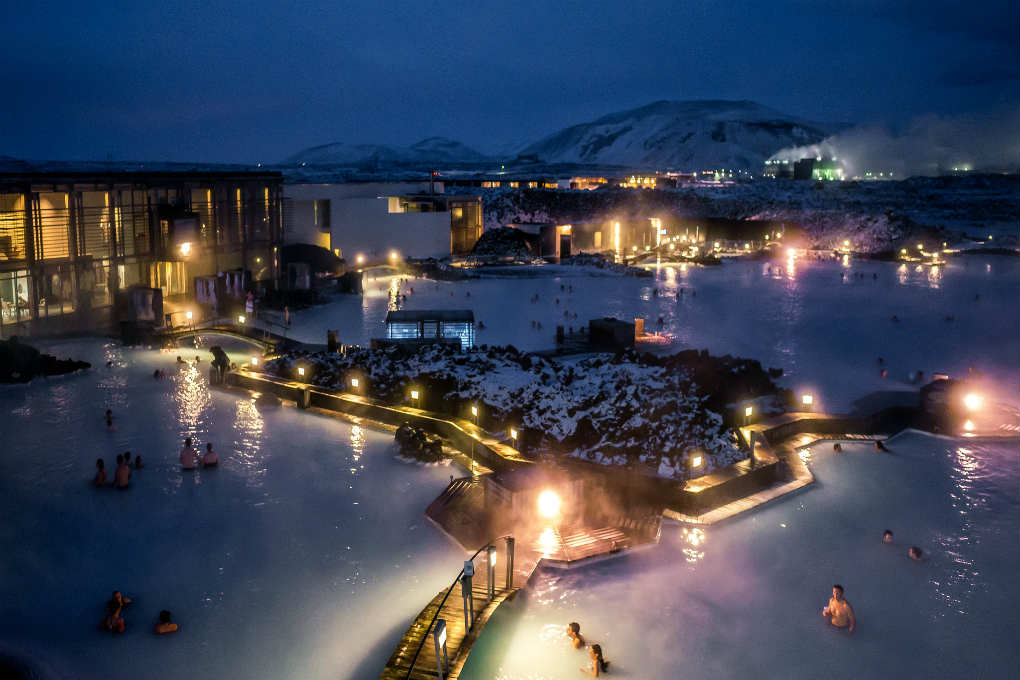 Blue lagoon at night