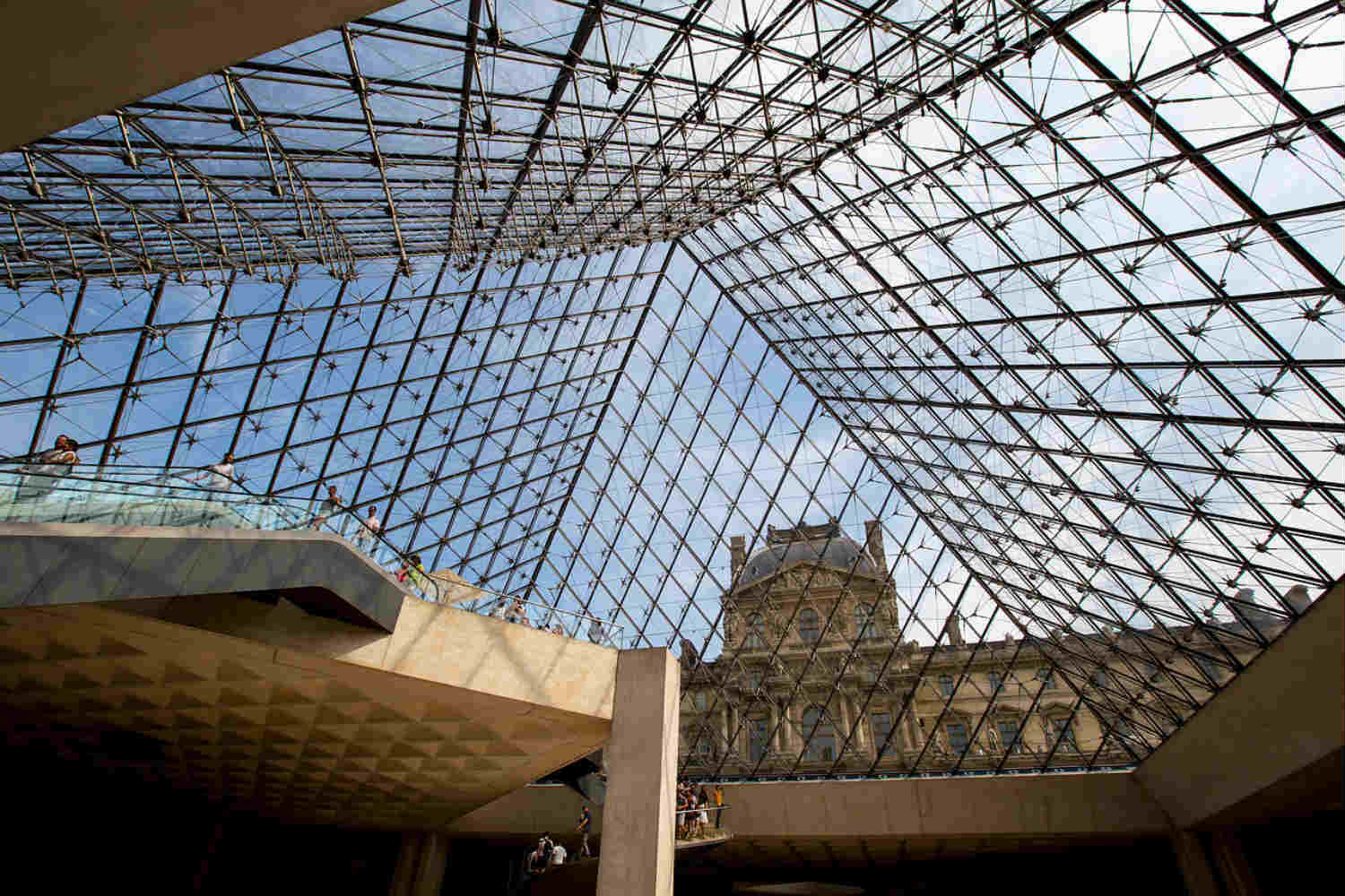 inside glass pyramid of the louvre